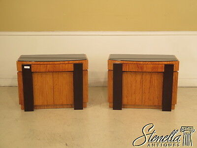 23604E: Pair Satinwood Biedermeier Style Oversized Nightstands Or End Tables