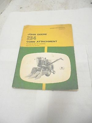 operator's manual john deere 234 corn attachment for 45 55 95 combines old logo