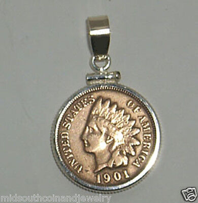 Coin Jewelry VINTAGE INDIAN CENT Pendant Sterling Silver Bezel Soldered Bail