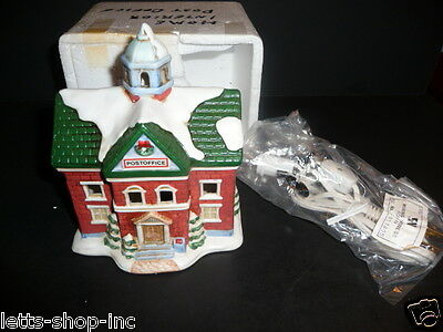 Vintage Homco # 5107 Christmas Ceramic Lighted Post Office Figures