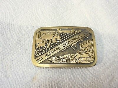 metal belt buckle hubbard centennial 1881 to 1981 iowa