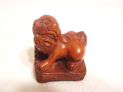 """Asian Chinese Wood carving Lion Foo Dog Figurine 3"""""""