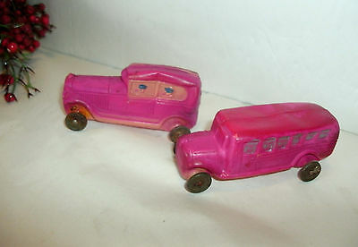"2 Vintage Red Celluloid Toys, Bus, Car,tin Wheels, 3 1/2"", 3 1/4"""