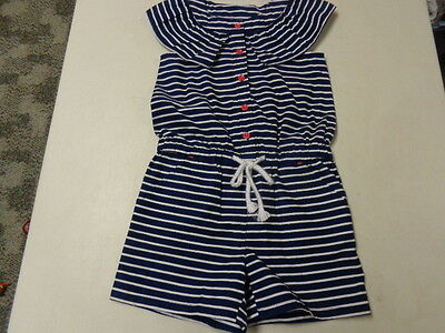 Gymboree Blooming Nautical  Striped Cotton Romper  Girls  6   Lnw