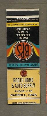 Booth Home & Auto Supply Carroll Iowa Flat Matchcover A426