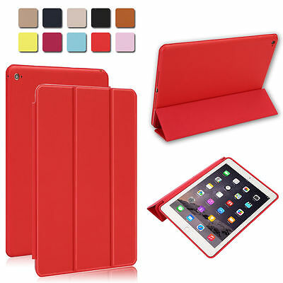 Red Slim Luxury Leather Smart Cover & Rubberized Case for Apple iPad Air 2