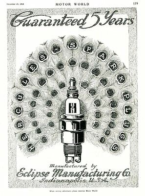1916 Eclipse HERCULES SPARK PLUGS Full Page AD. PEACOCK Motif. Indianapolis, IN