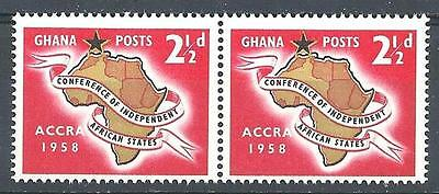 Ghana 1958 Sc# 21 Africa map Accra pair MNH