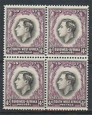 South West Suidwes Africa 1937 Sc# 130 4p George VI Coronation block 4 MNH