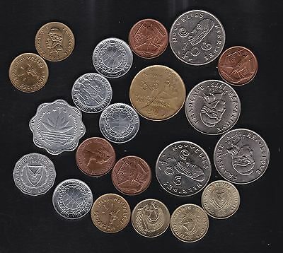 Mixed collection of 21 minor world coins, ics San Marino,Cyprus,Portugal,Cayman
