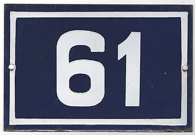 Old used French house number door gate plate plaque enamel steel metal sign 61