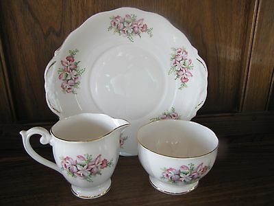 Vintage Queen Anne China~Orchid~ Cake/Bread and Butter Plate, Milk Jug and Sugar