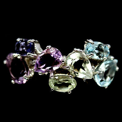 Gracefully! Natural! Sky Blue Topaz, Amethyst & Iolite..925 Silver Ring Size6.25