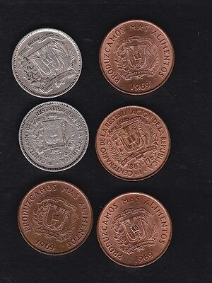 Dominican republic 6 coins 1944 -1969, some silver