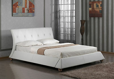 Modernised Queen Size PU Leather Bed Frame – White