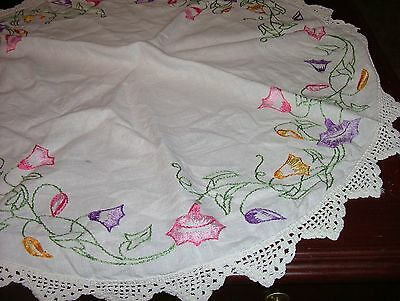 Vintage Linen Circle Embellished With Expert Morning Glories Embroidery+Lace