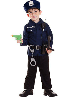 Kids Policeman Costume + Radio Set Boys Police Uniform Childrens Fancy Dress