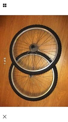 """Mavic M-400 26"""" wheelset with Shimano STX hubs, tyres and a 7 speed cassette"""