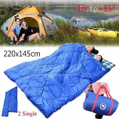 Outdoor Camping Envelope Double 2 Sleeping Bags Thermal Mat Tent Hiking Winter