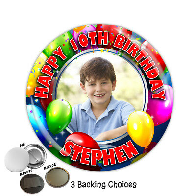 Personalised Happy Birthday Balloons Badge N5 4th 6th 18th 21st 30th ANY AGE
