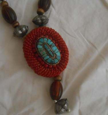 Replica Antique Tribal Medallion Coral Amber Turquoise Wood Bead Necklace 141/2""