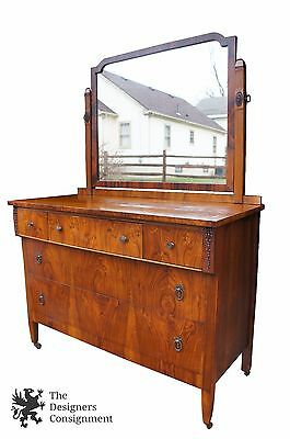 Antique Art Deco Walnut Burlwood Bedroom Dresser with Mirror Carved Accents