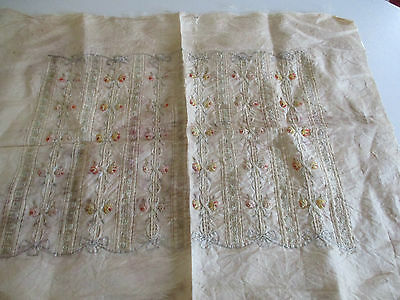 Antique Victorian Silk Embroidery Cushion Front Panel Lovely Floral Work