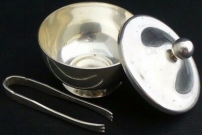 Vintage Gorham Black Starr Sterling Silver Sugar Saccharine Bowl & Tongs
