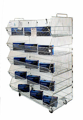 Shop storage 5 tier stacking wire baskets Heavy duty with wheels 600mm (J5)