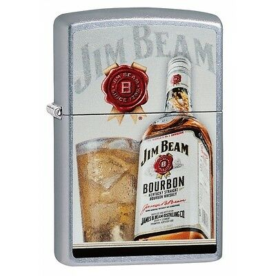 Zippo Jim Beam Glass and Bottle Street Chrome Regular Lighter  Brand New