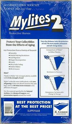 50 Mylites 2 Current Modern Age Size Mylar Comic Bags Storage Sleeves E. Gerber