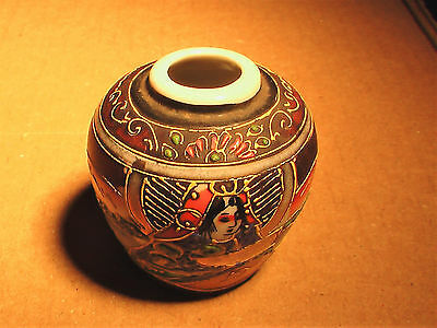 "2"" Gold PAINTED EMBOSSED JAPANESE VASE Porcelain Pottery Made in Japan"