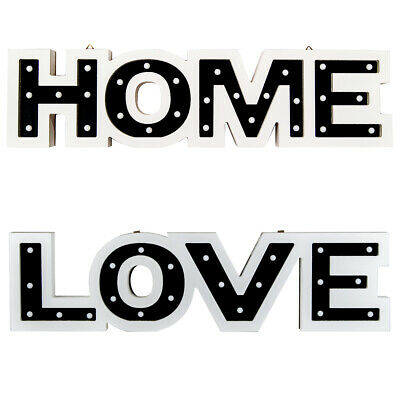 HOME/LOVE LED Cream Word Marquee Light Modern Wood Feature Home Decor