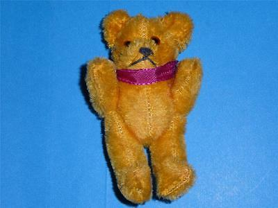 """Vintage Schuco Teddy Bear Miniature Mohair 4.5"""" Mechanical Jointed 1950""""s Gold"""