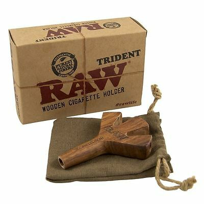 Raw Authentic Wooden Trident Cigarette Holder Carry Pouch Bag