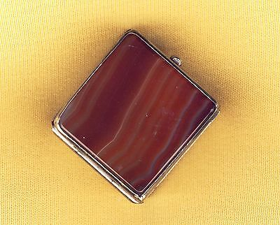 Antique Banded Agate Snuff Pill Box Double Sided Silver Or Nickel Plated