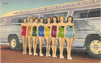 Bathing Beauties With Flxible Visicoach Bus Postcard