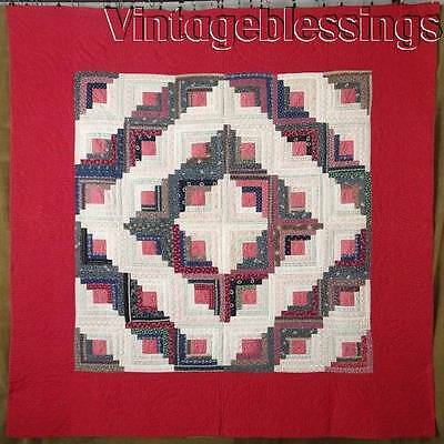 "Gorgeous! ANTIQUE Never Used c1880 Log Cabin QUILT 76x76""RED"