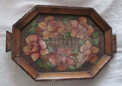 Vintage Wooden Hand Painted Tray