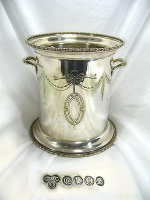 Antique Silver Plated Champagne Ice  Bucket Cooler Edwardian Circa Early 1900's