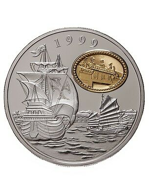 1999 Macao 100 Patacas Silver Proof Coin - Macao Returns to China