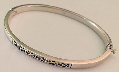 Sterling Silver SCROLL CELTIC Design Heavy hinged Bangle 23grams+ 925 hallmarked
