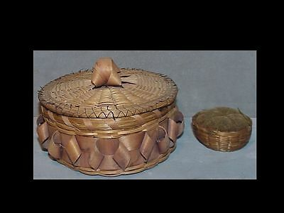 TWO old Micmac New England BASKETS - sewing basket & pincushion