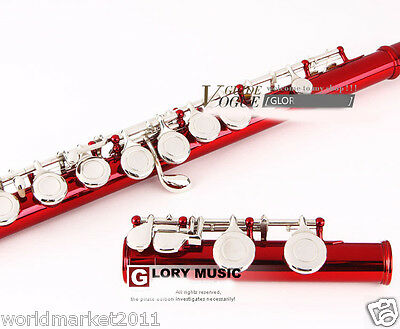 #6 New Red C-Note 16-Holes High-Grade Nickel-Plated Musical Instruments Flute