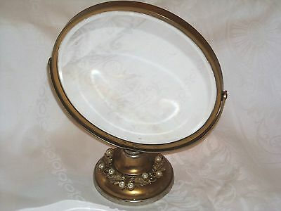 Antique Ornate Round Table Mirror Beveled Glass Mirror with pearls, rhinestones