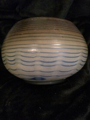Art Glass Vase Twisted Blue Line Within Art Deco Look