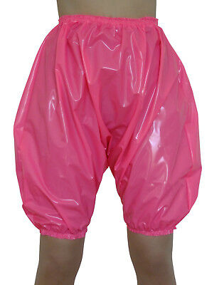PVC Bloomers Sissy Pants Knickers Hot Pink  Adult Baby Panties Plastic Shiny