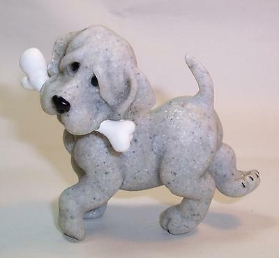 Cute QUARRY CRITTERS Puppy DOG with BONE 'Pirate' - Mongrel/Mutt - PERFECT
