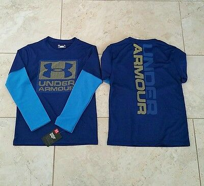 New Under Armour Kids Boys Long Sleeve Front Back Graphic T-Shirt Top Size: 5
