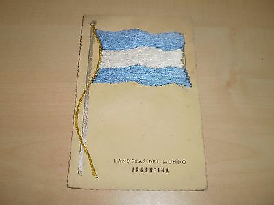 1960s Spanish Silk Postcard Of Flag Of Argentina By N,E,R.Y.P.Madrid